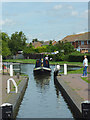 SO8690 : Entering Swindon Lock near Wombourne, Staffordshire by Roger  Kidd