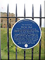 NZ3769 : Plaque  at  Tynemouth  Priory  and  Castle by Martin Dawes