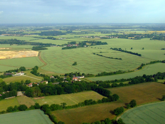 Archeological dig site near Elsenham from the air