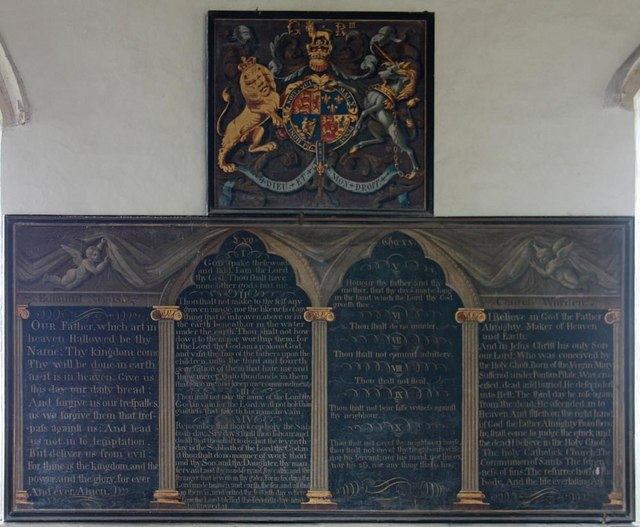 St Andrew, Ufford - Royal Arms & Decalogue