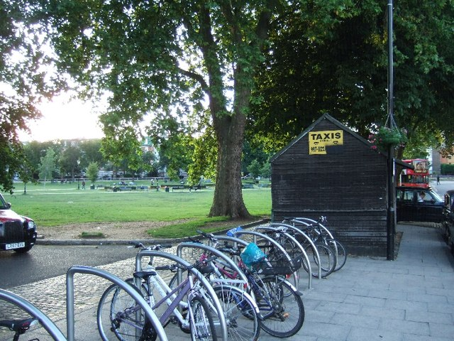 Cycle racks and a taxi-drivers' shelter