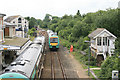 TQ9120 : Trains pass at Rye station by roger geach