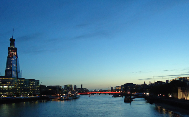 View from Tower Bridge, sunset on the longest day