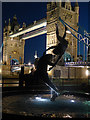 TQ3380 : Tower Bridge and statue at night by Roger Jones