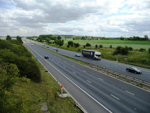 Looking east along the M62