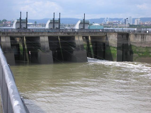 Sluice gates in Cardiff bay barrage