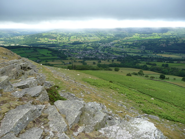 Crickhowell from the crags of Crug Hywel