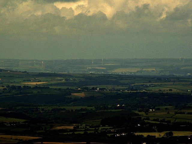 A distant view of Fullabrook Wind Farm as seen from Yes Tor, Dartmoor