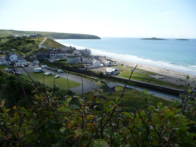Aberdaron from above the National Trust car park