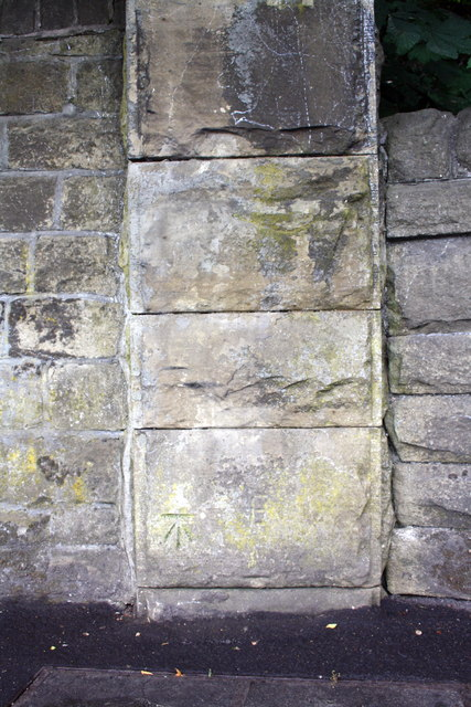 Benchmark on wall pier on Keighley Road