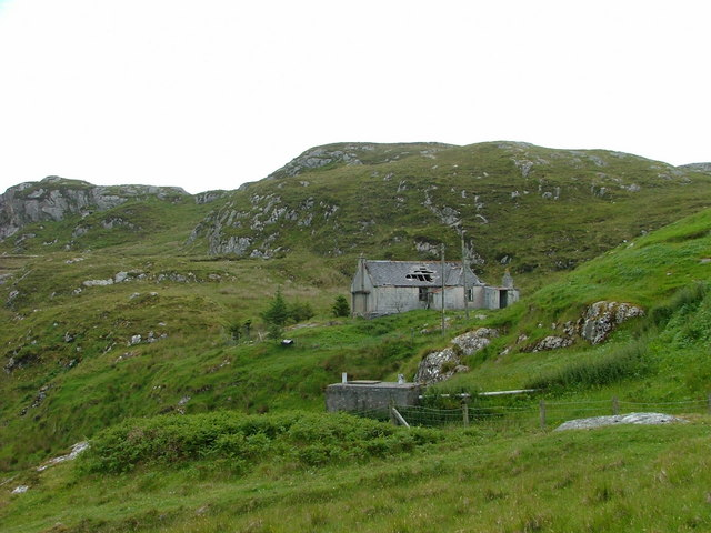 Dilapidated croft house at Aird Bheag