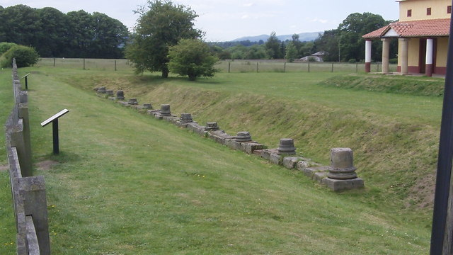 Bases of the columns from the forum building at Viroconium (Wroxeter Roman City)