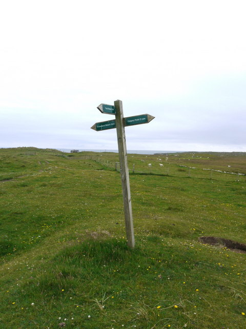 Footpath sign on Coll