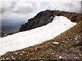 NN1971 : Snow cornice on the edge of the Aonach Beag summit plateau by Peter S