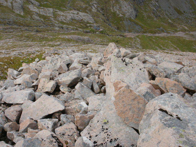 The steep rugged ascent of Carn Mor Dearg