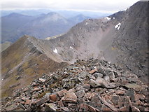 NN1771 : Looking down on the Carn Mor Dearg arete by Peter S