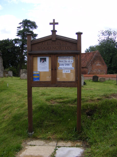 Notice Board of All Saints Church, Wood Norton