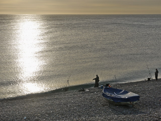 Evening fishing Chesil cove, Portland.