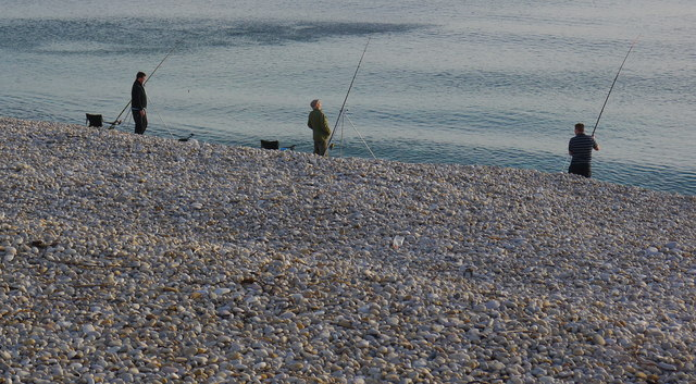 Three men and their rods, Chesil Beach
