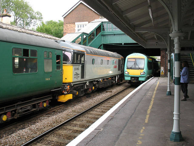 Eridge station: old and new trains