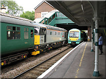 TQ5434 : Eridge station: old and new trains  by Stephen Craven