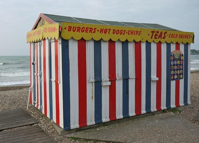 Last traditional beach hut standing on Weymouth beach