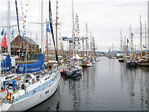 NS2975 : Some of the competitors in The Tall Ships Race berthed at the James Watt Dock Greenock by John Ferguson