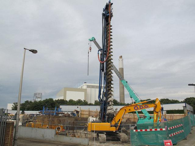 Foundations for a new railway bridge