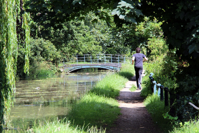 Jogging by the New River, Broxbourne, Hertfordshire