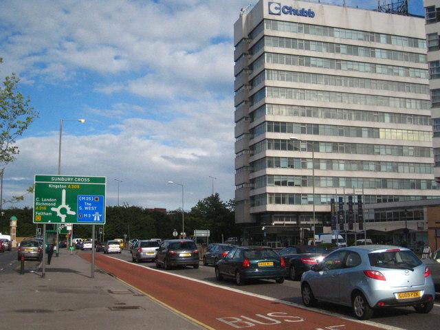 Rush hour traffic at Sunbury Cross