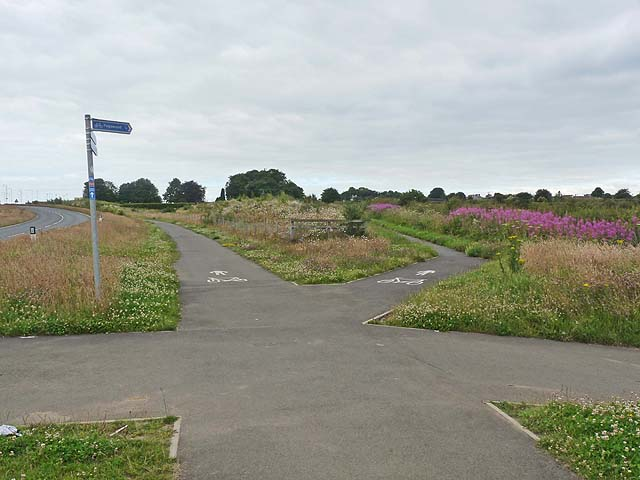 Cycleway junction near Pegswood