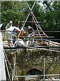 TQ0524 : Refitting the waterwheel at Lording's Lock by Robin Webster