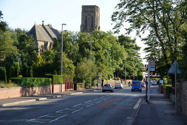 Rochdale Road passing All Souls Church, Heywood