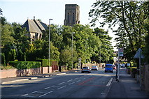 SD8611 : Rochdale Road passing All Souls Church, Heywood by Bill Boaden