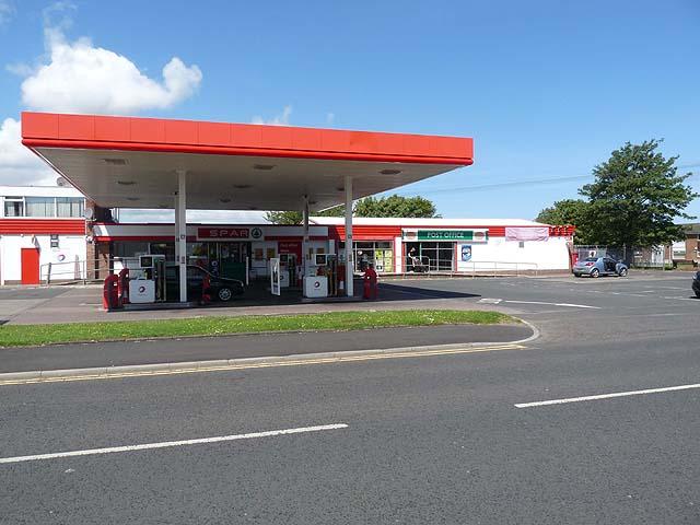 Shop, post office and petrol station, Bedlington Station