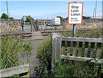 NZ2783 : Pedestrian level crossing, near Bedlington Station by Oliver Dixon