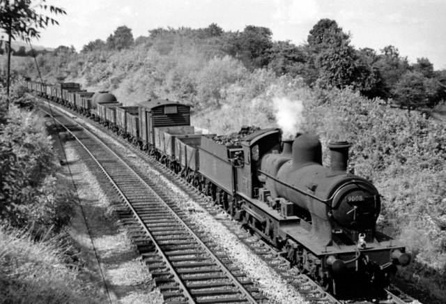 Down goods train between Newnham and  Awre, with an odd locomotive