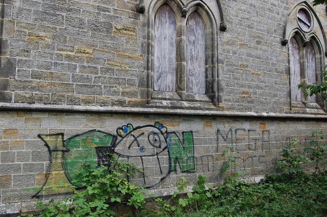 Graffiti on disused All Saints Church