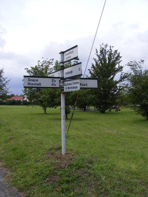 Roadsign on the B1121 Saxmundham Road
