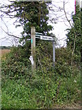 TM4160 : Bridleway sign to the B1069 Snape Road by Geographer