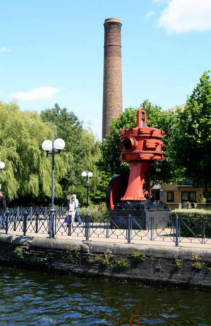 Millwall Docks - chimney and vacuum pump.