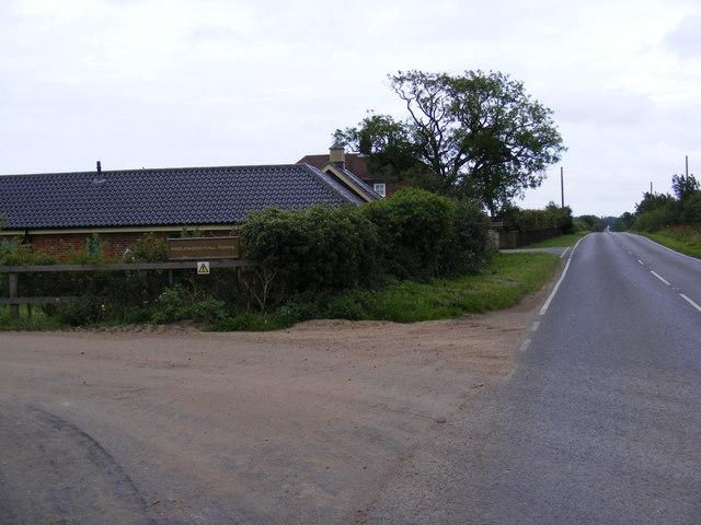 A1094 Aldeburgh Road & entrance to Hazlewood Hall Farm