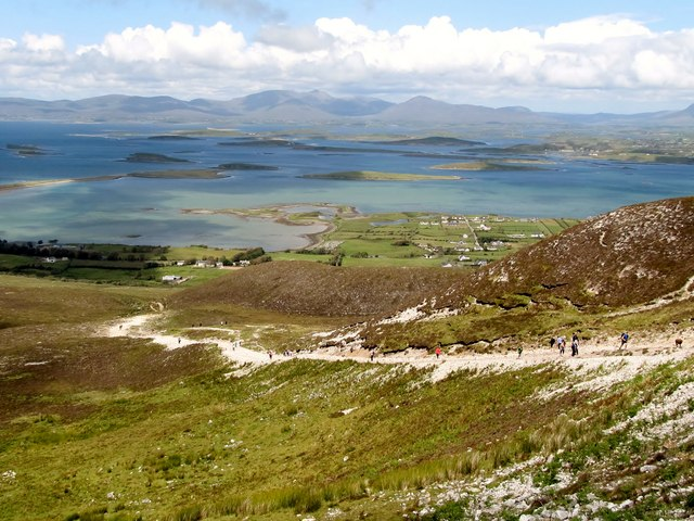 A steady stream of walkers on the dog leg section on the Croagh Patrick path