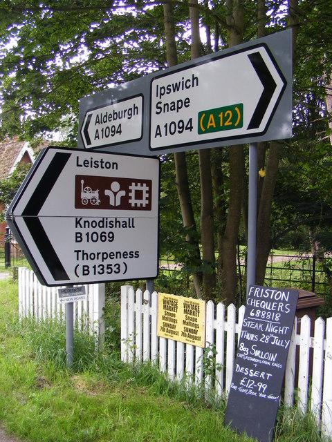 Roadsigns on the A1094 Aldeburgh Road at Black Heath Corner