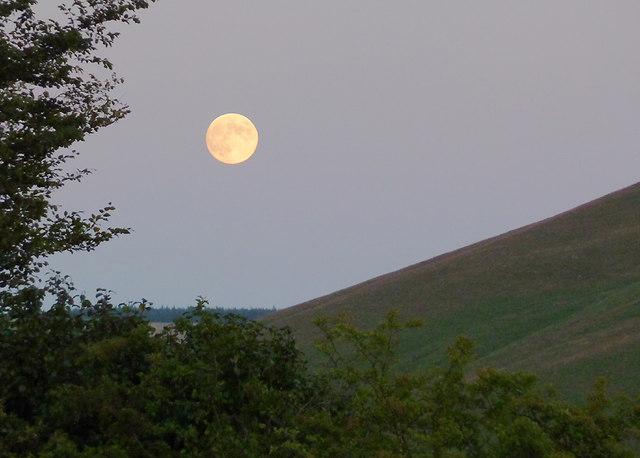 Moon over Cwm Doethie 1, Ceredigion
