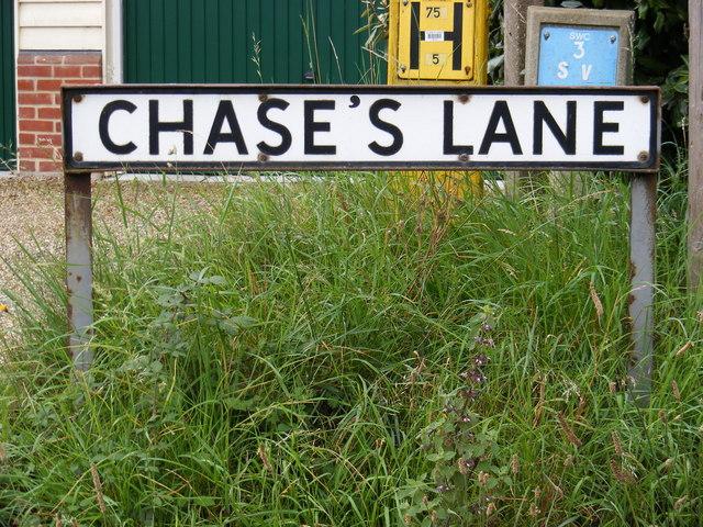 Chase's Lane sign