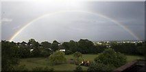 TQ3472 : Rainbow over Baxter Fields by kevin roe