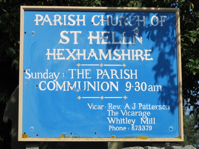 Sign for St. Helen's  Church, Whitley Chapel