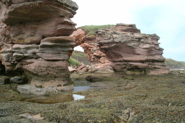 Arch and stacks at low tide