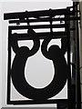 NZ0416 : Sign for the Three Horseshoes by Maigheach-gheal